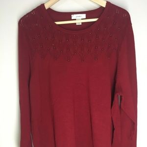 CJ Banks Red Sweater Pullover Embellished Bead